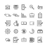 Simple set of banking related outline icons. Royalty Free Stock Images