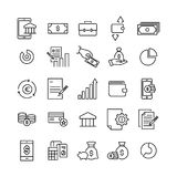 Simple set of banking related outline icons. Royalty Free Stock Photo