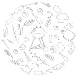 Simple Set of Barbecue Related Vector Line Icons. Round Set of Barbecue line icons Royalty Free Stock Image
