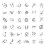 Simple Set of Barbecue Related Vector Line Icons. Stock Image