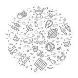 Simple Set of Barbecue Related Vector Line Icons. Stock Images