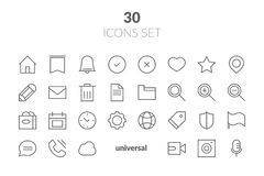 Simple Set of Basic Interface Related Color Vector Line Icons. C. Ontains such Icons as Contact, Info, Alert, Notification, Settings, User Profile and more Stock Photo