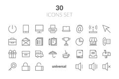 Simple Set of Basic Interface Related Color Vector Line Icons. C. Ontains such Icons as Contact, Info, Alert, Notification, Settings, User Profile and more Stock Photos
