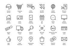 Simple set of black thin line ecommerce icon