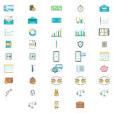Simple Set of Business and Finance Vector Flat Icons. Contains such Icons as credit card, diagram. Mail, safe box, calendar, phone Stock Image