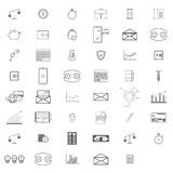 Simple Set of Business and Finance Vector Line art Icons. Contains such Icons as credit card, diagram, mail, safe box Royalty Free Stock Photos