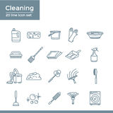 Simple Set of Cleaning Related Vector Line Icons. 20 line icon set.  Royalty Free Stock Image