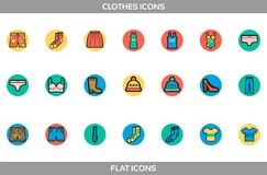 Simple Set of Clothes and shopping Vector flat with outline in circles Icons.   Stock Photography
