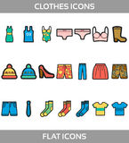 Simple Set of Clothes and shopping Vector flat with outline Icons. Contains such Icons as t-shirt, boots, shoes, pants, Royalty Free Stock Image