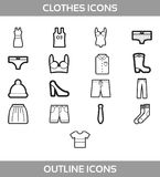 Simple Set of Clothes and shopping Vector outline Icons.   Royalty Free Stock Photo