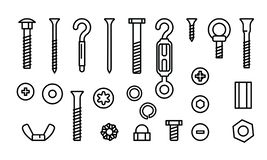 Simple set construction hardware vector line icons. Screws, bolts, nuts and rivets. Equipment stainless, fasteners. Metal fixation gear, vector illustration vector illustration