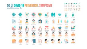 Simple Set of Covid-19 Prevention Flat Icons. such Icons as Protective Measures, Coronavirus, Hygienic Healthcare, Social. Distancing, Hands Washing, Symptoms