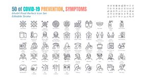 Simple Set of Covid-19 Prevention Line Outline Icons. such Icons as Protective Measures, Coronavirus, Social Distancing, Symptoms. Quarantine, Stay at Home