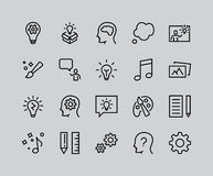 Simple Set of Creativity Related Vector Line Icons. Contains such Icons as Inspiration, Idea, Brain, Teacher, Music, Lamp, Gears, royalty free illustration