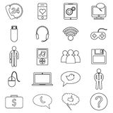 Simple set of customer relationship management. Vector line icon Stock Photos