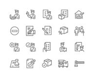 Line Customs Icons. Simple Set of Customs Related Vector Line Icons. Contains such Icons as Declaration, Passport Control, Approve Stamp and more. Editable royalty free illustration