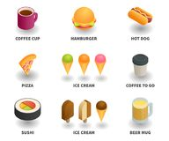 Simple Set of 3D Isometric Icons. Contains such Icons as coffee cup, hamburger, hot dog, pizza, ice cream, coffee to go, sushi, beer mug Royalty Free Stock Photo