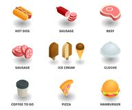 Simple Set of 3D Isometric Icons. Contains such Icons as hot dog, sausage, beef, ice cream, cloche, coffee to go, pizza, hamburger Royalty Free Stock Images