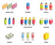 Simple Set of 3D Isometric Icons. Contains such Icons as bank card, rubber, pencil, marker, flash drive, money, test-tube, book Stock Photos