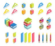 Simple Set of 3D Isometric Icons. Contains such Icons as ruler, book, protractor, wallet, money, pen, notebook Royalty Free Stock Photo