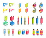 Simple Set of 3D Isometric Icons. Contains such Icons as ruler, notebook, wallet, book, pen, pencil, marker, rubber, test-tube Royalty Free Stock Photos