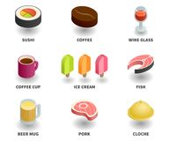 Simple Set of 3D Isometric Icons. Contains such Icons as sushi, wine glass, coffee cup, fish, ice cream, beer mug, pork, coffee grain, cloche Stock Photography