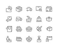 Line Delivery Icons. Simple Set of Delivery Related Vector Line Icons. Contains such Icons as Priority Shipping, Express Delivery, Tracking Order and more Stock Images