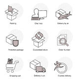 Simple set of delivery symbols. Line business icons. Packing, Chat help, Delivery by air, Protection package, Guaranteed return Royalty Free Stock Images