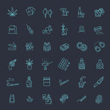 Simple Set of Drugs Related Vector Line Icons Stock Photography