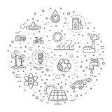 Simple Set of Eco Related Vector Line Icons. Contains such Icons as electric car, organic farming, solar panels Royalty Free Stock Image