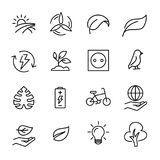 Simple set of ecology related outline icons. Stock Photo