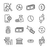 Simple set of finance related outline icons. Royalty Free Stock Images
