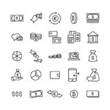 Simple set of finance related outline icons. Stock Photo