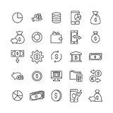 Simple set of finance related outline icons. Royalty Free Stock Image