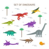 Simple set flat style icons of different dinosaurs. Pictograms  for print on t-shirt or design card. royalty free illustration
