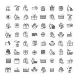 Simple set of gift related outline icons Stock Image