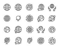 Simple set of globe related outline icons. Elements for mobile concept and web apps. Thin line vector icons for website design and development, app development stock illustration