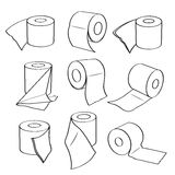 Simple set icons of toilet paper rolls. Royalty Free Stock Photo