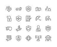 Line Insurance Icons stock illustration