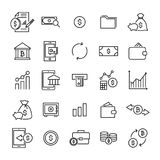 Simple set of investments related outline icons. Elements for mobile concept and web apps. Thin line vector icons for website design and development, app Royalty Free Stock Photos