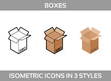 Simple Set of Isometric packaging boxes Vector 3D Icons. Color isometric icons in three styles. Cardboard boxes. Simple Set of Isometric packaging Stock Image