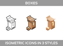 Simple Set of Isometric packaging boxes Vector 3D Icons. Color isometric icons in three styles. Cardboard boxes. Simple Set of Isometric packaging Stock Photography