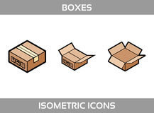 Simple Set of Isometric packaging boxes Vector Flat Icons. Color flat isometric icons with thick strokes. Cardboard boxes Royalty Free Stock Image