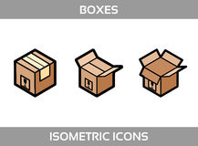 Simple Set of Isometric packaging boxes Vector Flat Icons. Color flat isometric icons with thick strokes. Cardboard boxes Stock Images