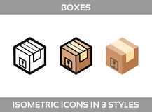 Simple Set of Isometric packaging boxes Vector Icons in three styles: flat, line art and 3D. Cardboard boxes Stock Photo