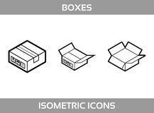 Simple Set of Isometric packaging boxes Vector Line art Icons. Black and white line art isometric icons with thick strokes. Royalty Free Stock Photos