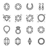Simple Set of Jewelry Related Vector Line Icons. Contains such Icons as Earrings, Diamond, Engagement Ring and more. Simple Set of Jewellry Related Vector Line stock illustration