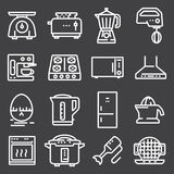 Simple Set of Kitchen Appliances Related Vector Line Icons. Contains such Icons as Meat Grinder, Boiler, Multi Cooker Royalty Free Stock Photo
