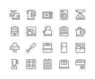 Line Kitchen Appliances Icons. Simple Set of Kitchen Appliances Related Vector Line Icons. Contains such Icons as Meat Grinder, Boiler, Multicooker and more stock illustration