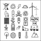 Simple set of line icons theme of ecology. Contains icons such as battery, LED lamp, solar battery, security and more. royalty free illustration